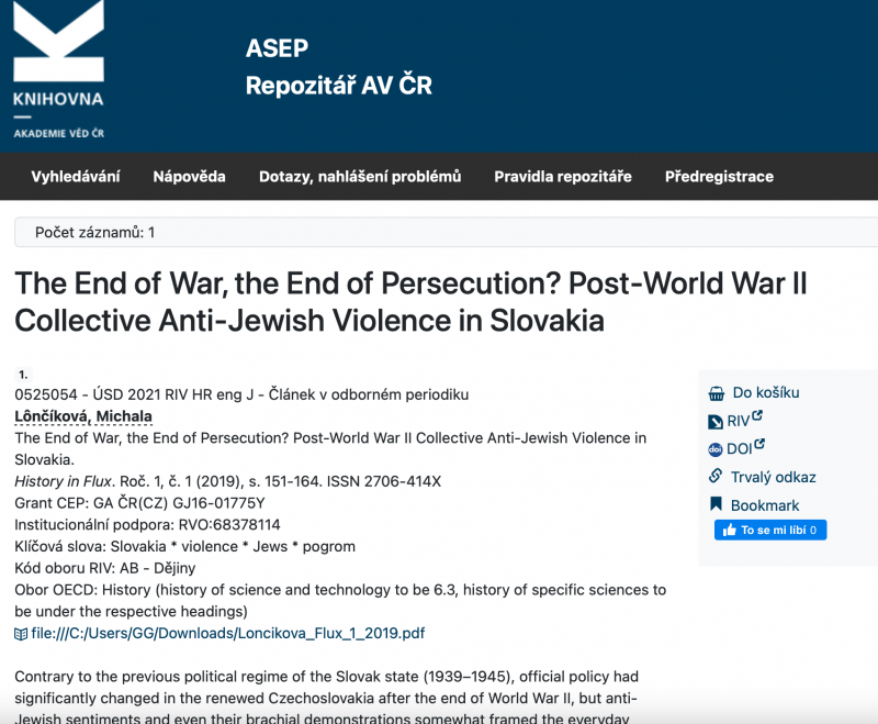 The End of War, the End of Persecution? Post-World War II Collective Anti-Jewish Violence in Slovakia