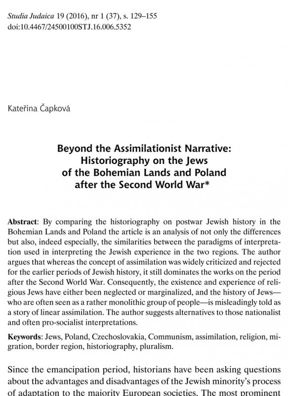 Beyond the Assimilationist Narrative: Historiography on the Jews of the Bohemian Lands and Poland after the Second World War