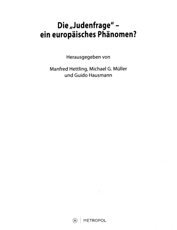 """Die """"Judenfrage"""" in der Frühphase der tschechischen Nationalbewegung"""