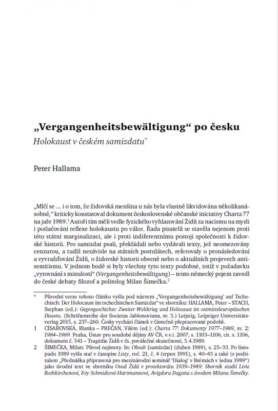 'Vergangenheits- bewältigung' po česku. Holokaust v českém samizdatu
