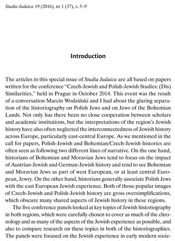 Introduction [to the special issue of Studia Judaica with articles on Polish-Jewish and Czech-Jewish Studies]