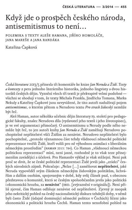 Když jde o prospěch českého národa, antisemitismus to není... Polemika s texty Aleše Hamana, Jiřího Homoláče, Jana Mareše a Jana Randáka