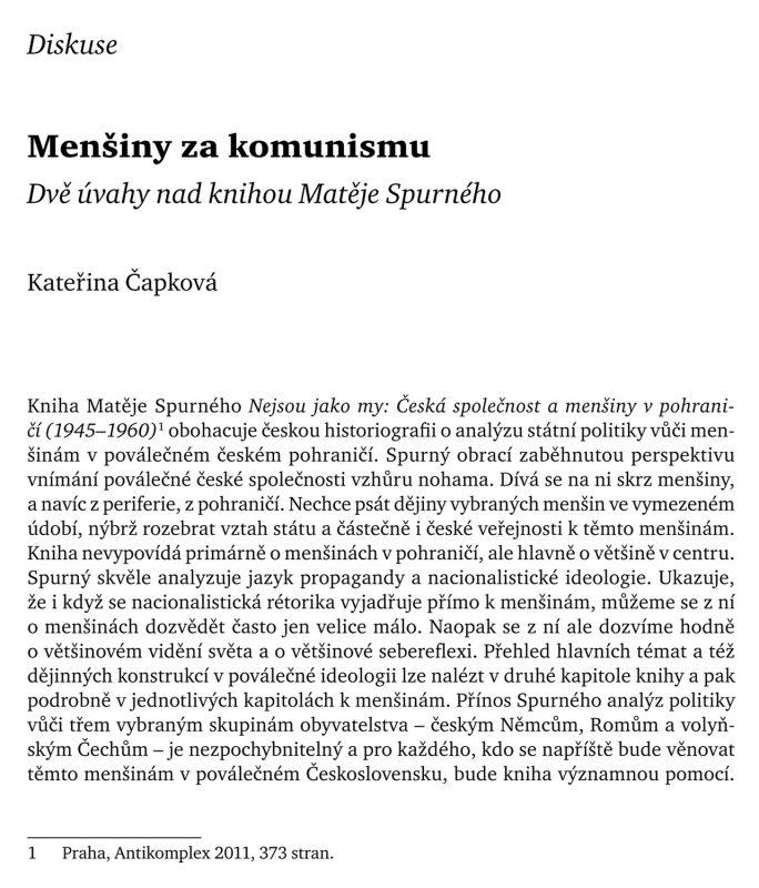 Menšiny za komunismu. Dvě úvahy nad knihou Matěje Spurného